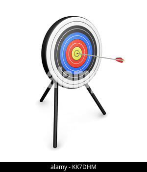3D render di una freccia che colpisce il bersaglio Foto Stock