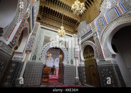 Santuario di zaouia moulay idriss ii in Fes el Bali vecchio fes nella città capitale di Fez, Marocco Foto Stock