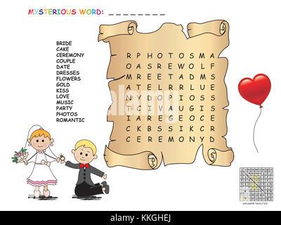 Illustrazione Con Gioco Per Bambini Il Cruciverba Foto Immagine