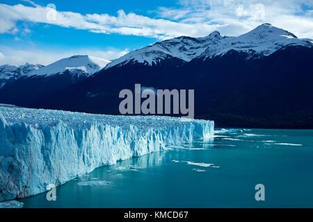 La faccia terminale del ghiacciaio Perito Moreno e lago argentino, Parque Nacional Los Glaciares (area del patrimonio Foto Stock
