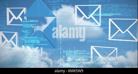 Dati blu contro la vista panoramica di nuvola bianca contro sky Foto Stock