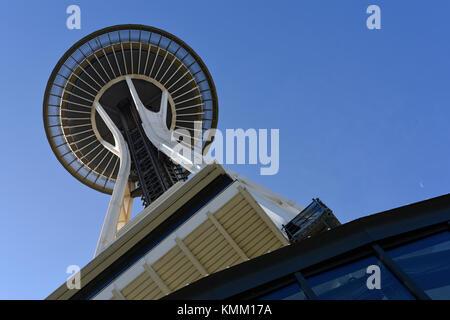 Il Seattle Space Needle torre di osservazione, nello Stato di Washington, USA Foto Stock