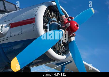 Elica biplano vista da vicino con cielo blu sullo sfondo Foto Stock