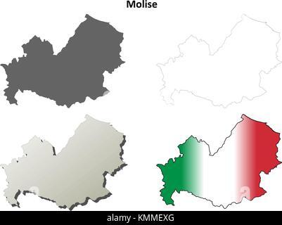 Cartina Molise Dettagliata.Molise Blank Dettagliata Mappa Di Contorno Impostato Immagine E Vettoriale Alamy