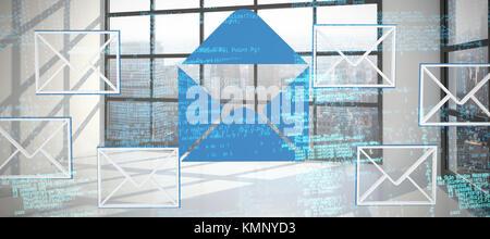 Immagine composita di codici binari contro la camera con grande finestra che mostra città Foto Stock