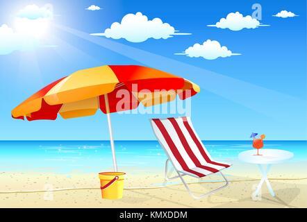 Disegno Ombrellone E Sdraio.Scena Di Spiaggia Con Sdraio E Ombrellone Illustrazione