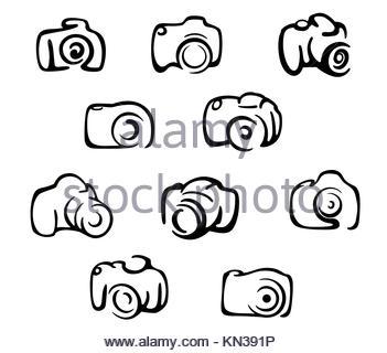 Le icone della telecamera e il set di simboli isolati su sfondo bianco. Foto Stock