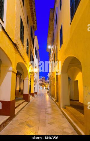 Ciutadella Menorca ses Voltes archi Ciudadela downtown in isole Baleari. Foto Stock