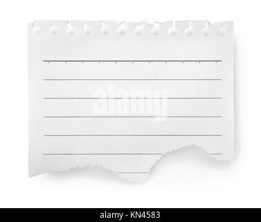 Foglio di carta a righe isolate su sfondo bianco. Foto Stock