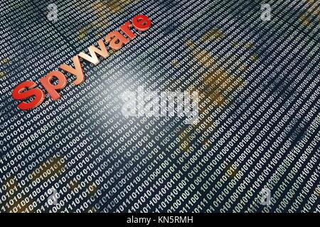 Spyware nel codice. Tipografia di fronte digitale, sfondo binario. Foto Stock