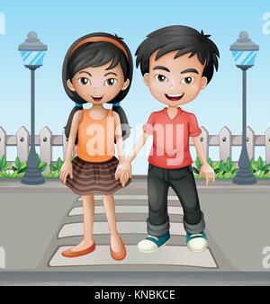 Illustrazione di due teenager tenendo le mani insieme Foto Stock