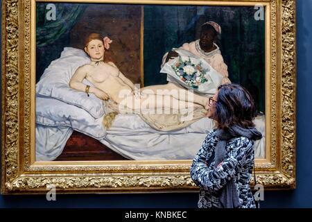 Edouard Manet (1832-1883). Olympia,. 1863, olio su tela, il Museo d' Orsay, Parigi, Francia,l'Europa occidentale. Foto Stock