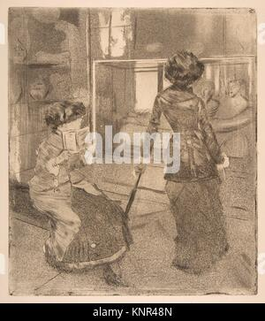 Mary Cassatt al Louvre: La galleria etrusca. Artista: Edgar Degas (francese, Parigi Parigi 1834-1917); Sitter: Ritratto Foto Stock