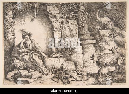 Circe cambiando i compagni di Ulisse in bestie. Artista: Giovanni Benedetto Castiglione (Il Grechetto) (italiano, Foto Stock