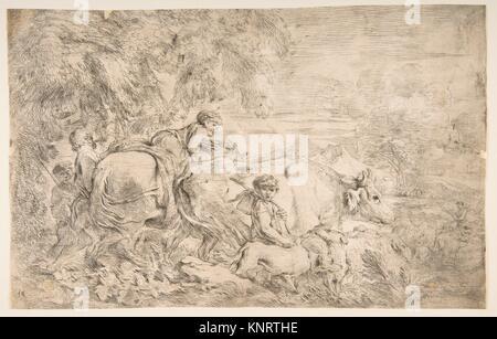 Pastori con i loro greggi. Artista: Giovanni Benedetto Castiglione (Il Grechetto) (italiano, Genova 1609-1664 Mantova); Foto Stock
