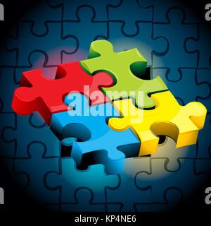 Illustrazione di pezzi di puzzle su sfondo astratto Foto Stock