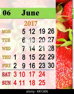 Calendario Mature.Calendario Per Il Mese Di Giugno 2017 Con Fragole Mature