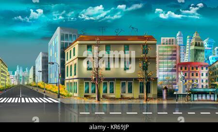 Città dopo la pioggia di estate