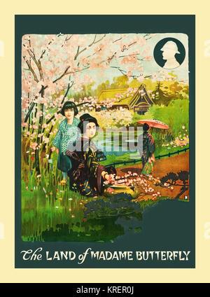 """""""La terra di Madame Butterfly - Burton Holmes (1870-1958) era un intrepido American explorer, attraversando il globo di fotografare e filmare le culture straniere e coniando il termine ''diario di viaggio."""" Egli ha insegnato ampiamente, il catering per la poltrona traveler, ed eventualmente di Hollywood è venuto a bussare. In questo breve viaggio, Holmes faretti '""""La Terra di Madame Butterfly.'' rosa fiori di ciliegio e delicato bellezze giapponesi riempire questo pastello-pietra ricca litho poster."""""""