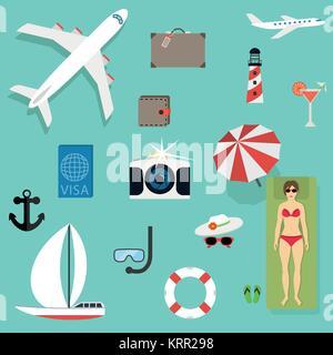 Icone vettoriali e i concetti in stile appartamento - viaggi e vacanze, Trendy striscioni e cartelli - estate e Foto Stock