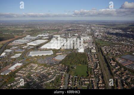 Una veduta aerea di Burton upon Trent, una città in Staffordshire Foto Stock