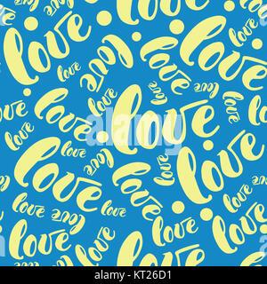 Amore romantico sfondo pattern. Illustrazione Vettoriale per vacanza design. Molti battenti parole d'amore su sfondo Foto Stock