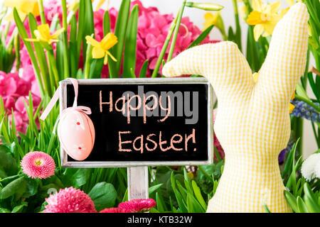 Segno Con Testo In Inglese Buona Pasqua Fiori Di Primavera
