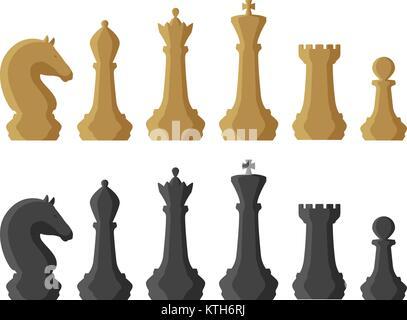 Pezzi di scacchi. Il concetto di gioco. Illustrazione Vettoriale Foto Stock
