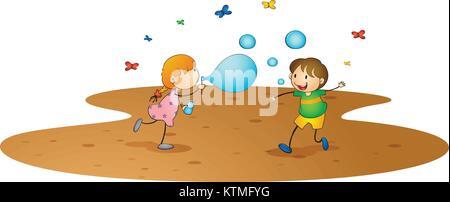 Illustrazione dei ragazzi su sfondo bianco Foto Stock