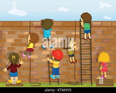 Illustrazione di un bambini che giocavano sulla parete Foto Stock