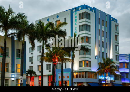 Park Central Hotel a South Beach, Miami Beach, Florida USA Foto Stock