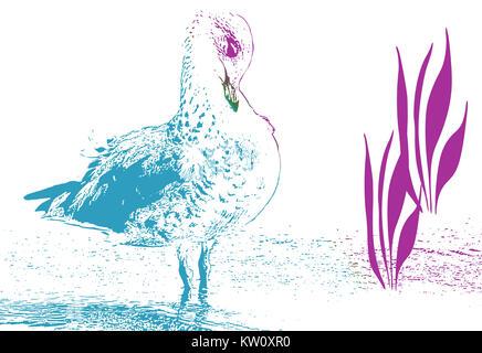 Abstract disegno a inchiostro di uccello preening suo piume Foto Stock