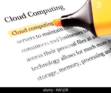 Evidenziatore e word il cloud computing Foto Stock