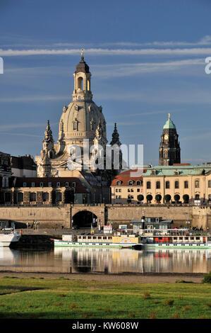 La chiesa di Nostra Signora e della torre del municipio, Dresda, Frauenkirche und Rathausturm Foto Stock