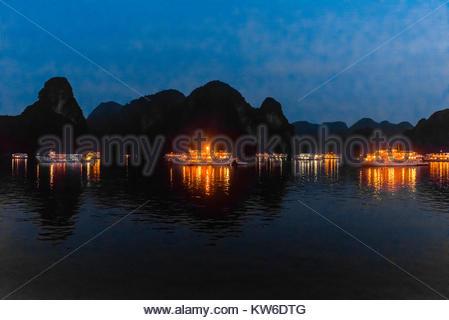 Tour di navi ancorate per la notte nella baia di Halong, Vietnam del Nord. Il bay offre 3.000 di calcare e dolomite Foto Stock