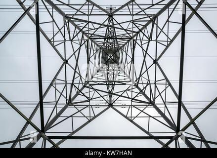 Modello astratto che guarda direttamente sotto il pilone ad alta elettricità contro un cielo nuvoloso, Scozia, Regno Unito