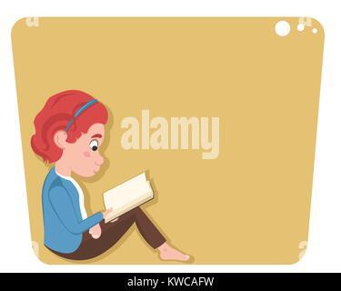 Poco caucasian ragazza seduta e la lettura di un libro isolato su sfondo bianco.