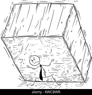 Cartoon stick uomo disegno illustrazione concettuale di imprenditore che trasportano o supporto di grossi blocchi Foto Stock