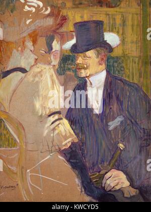 L'inglese presso il Moulin Rouge, da Henri de Toulouse-Lautrec, 1892, Post-Impressionist pittura. Lautrecs amico Foto Stock