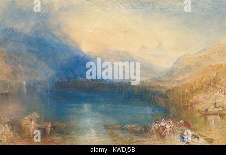Il lago di Zugo, da Joseph Mallord William Turner, 1843, American pittura ad acquerello. Questo acquerello è stata Foto Stock