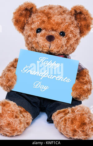 Simpatico orsacchiotto tenendo un cartello blu che legge felice Giorno dei Nonni isolato su uno sfondo bianco Foto Stock