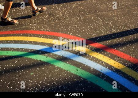 XX Giochi del Commonwealth branding dipinta sul marciapiede, 24 luglio, 2014, West George Street, Glasgow, Scozia Foto Stock