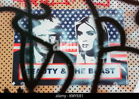 Street Art poster raffiguranti Donald Trump e Ivanka Trump su imbarcati-edificio fino a Hackney Wick, Londra. Foto Stock