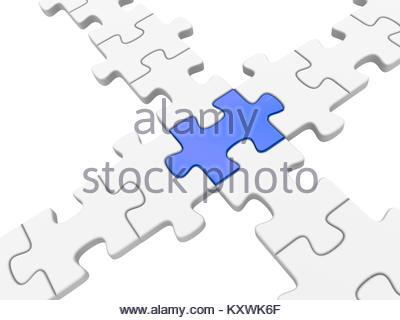 Connessione di puzzle. 3d reso illustrazione. Foto Stock