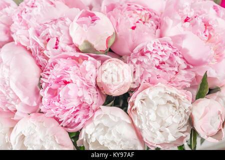 Bouquet elegante di un sacco di peonie di colore rosa vicino. Bel fiore per ogni tipo di vacanza. Un sacco di belle Foto Stock