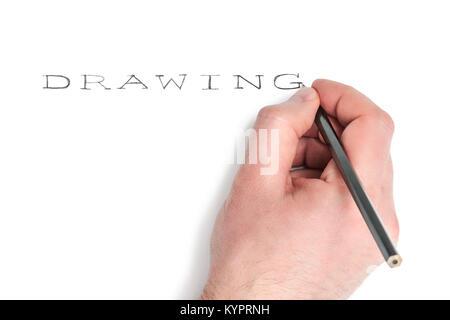 Man mano con una matita scrive la parola disegno isolato su sfondo bianco Foto Stock