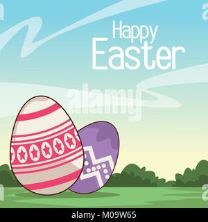 Felice Pasqua card cartoon Foto Stock