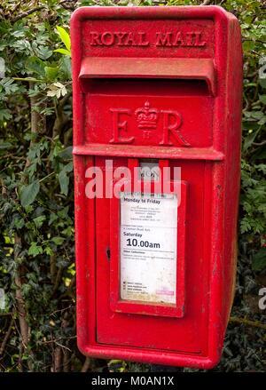 Kirkham Priory, tradizionale rosso post box set contro una siepe in un villaggio inglese. Foto Stock