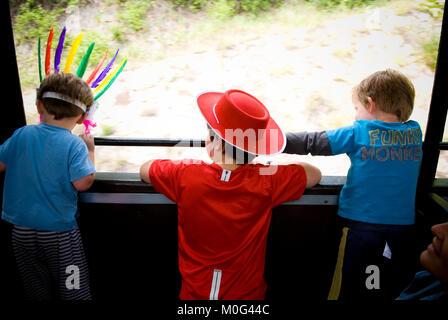 Ripresa posteriore di tre giovani ragazzi di età compresa tra i due dissimulata come un rosso indiano e un cowboy, guardando fuori della finestra del movimento del treno nelle Cévennes, Francia Foto Stock
