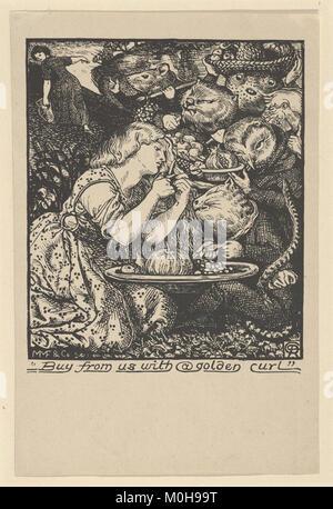 """Acquistare da noi con un Golden Curl (frontespizio per """"mercato Goblin ed altre poesie' da Christina Rossetti) SODDISFATTE Foto Stock"""